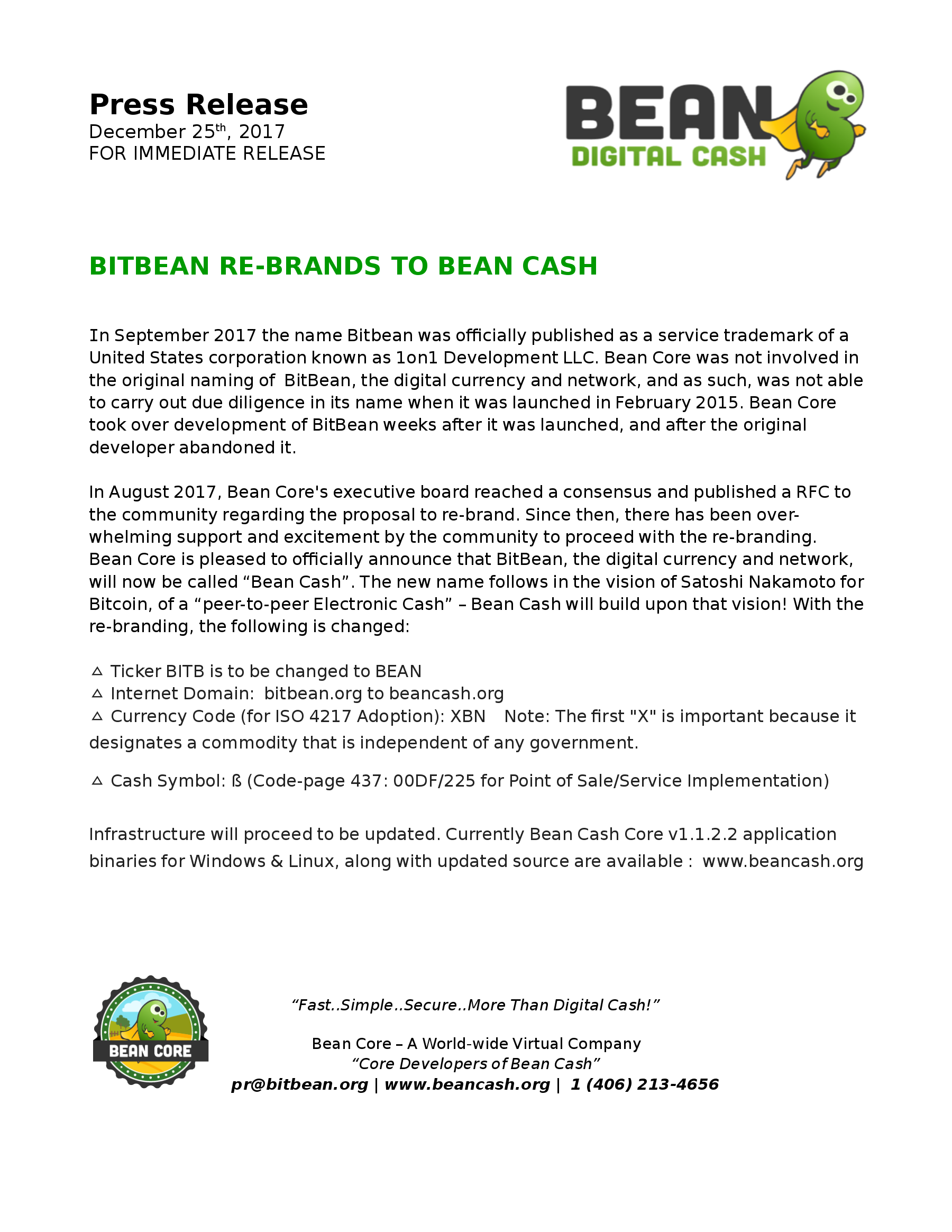 BITBEAN RE-BRANDS TO BEAN CASH Press Release